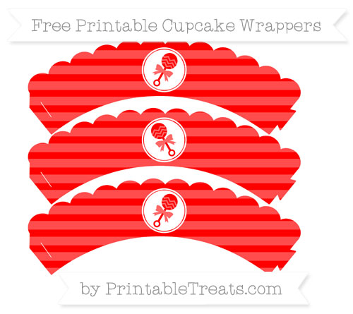 Free Red Horizontal Striped Baby Rattle Scalloped Cupcake Wrappers