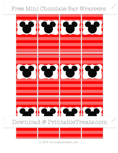 Free Red Horizontal Striped Mickey Mouse Mini Chocolate Bar Wrappers