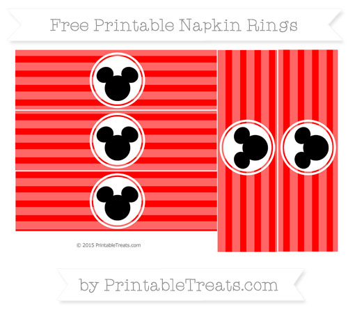 Free Red Horizontal Striped Mickey Mouse Napkin Rings