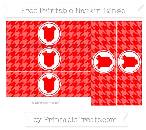 Free Red Houndstooth Pattern Baby Onesie Napkin Rings