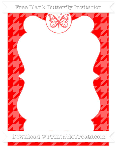 Free Red Houndstooth Pattern Blank Butterfly Invitation