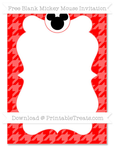 Free Red Houndstooth Pattern Blank Mickey Mouse Invitation