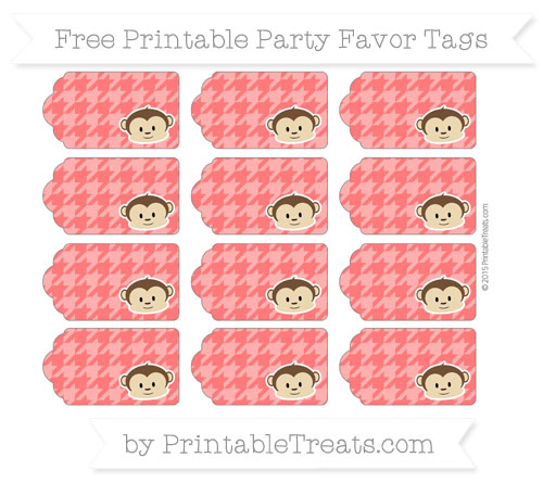 Free Red Houndstooth Pattern Boy Monkey Party Favor Tags