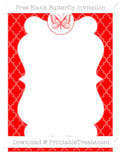 Free Red Moroccan Tile Blank Butterfly Invitation