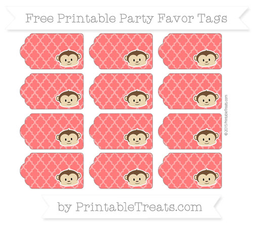 Free Red Moroccan Tile Boy Monkey Party Favor Tags