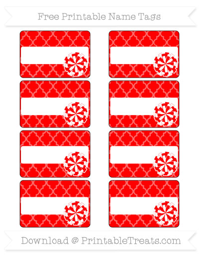 Free Red Moroccan Tile Cheer Pom Pom Tags