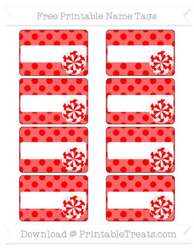 Free Red Polka Dot Cheer Pom Pom Tags