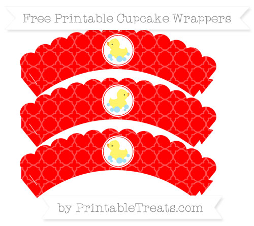 Free Red Quatrefoil Pattern Baby Duck Scalloped Cupcake Wrappers
