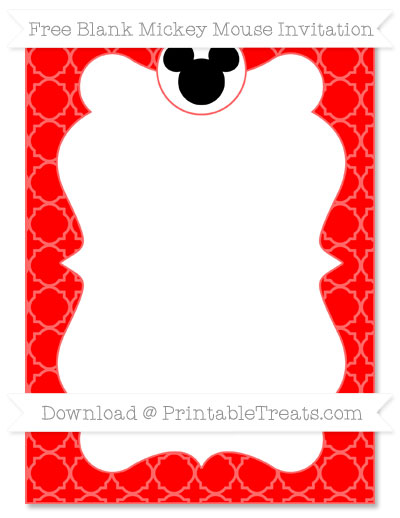 Free Red Quatrefoil Pattern Blank Mickey Mouse Invitation