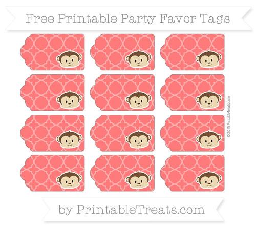 Free Red Quatrefoil Pattern Boy Monkey Party Favor Tags