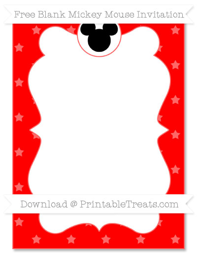 Free Red Star Pattern Blank Mickey Mouse Invitation