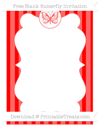 Free Red Striped Blank Butterfly Invitation