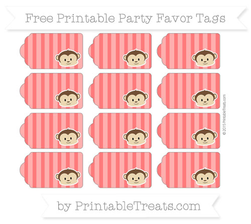 Free Red Striped Boy Monkey Party Favor Tags