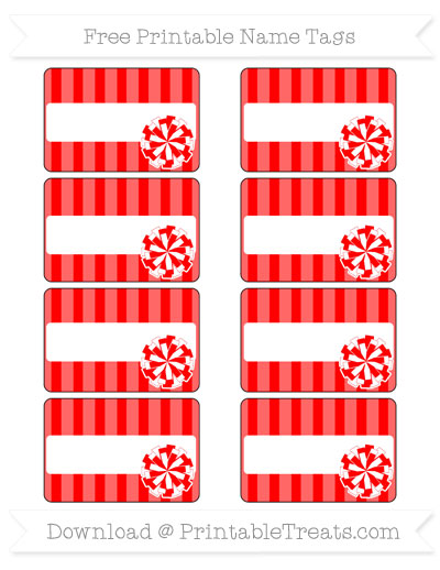 Free Red Striped Cheer Pom Pom Tags