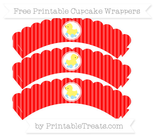Free Red Thin Striped Pattern Baby Duck Scalloped Cupcake Wrappers