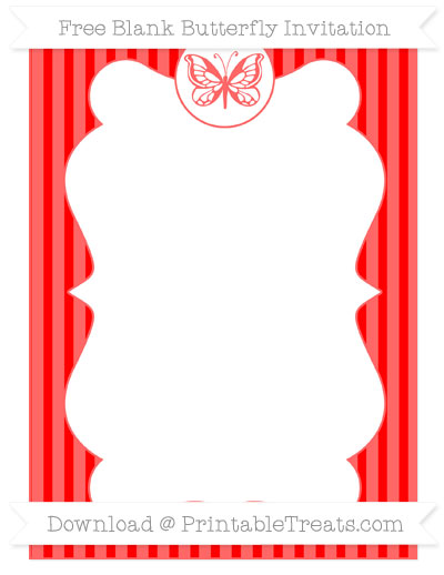 Free Red Thin Striped Pattern Blank Butterfly Invitation