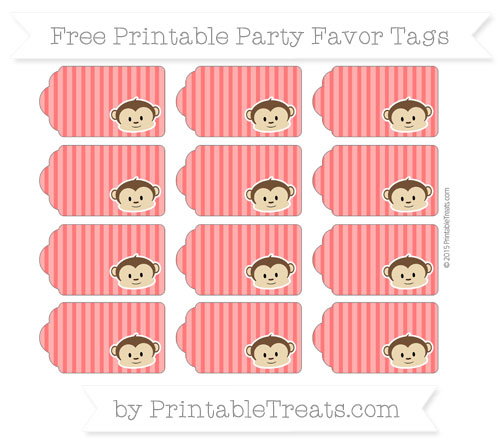 Free Red Thin Striped Pattern Boy Monkey Party Favor Tags