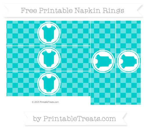 Free Robin Egg Blue Checker Pattern Baby Onesie Napkin Rings