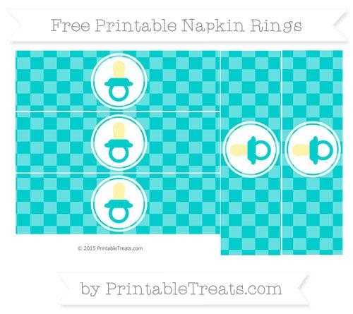 Free Robin Egg Blue Checker Pattern Baby Pacifier Napkin Rings