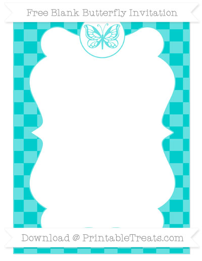 Free Robin Egg Blue Checker Pattern Blank Butterfly Invitation