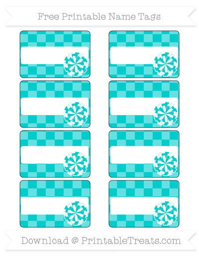 Free Robin Egg Blue Checker Pattern Cheer Pom Pom Tags