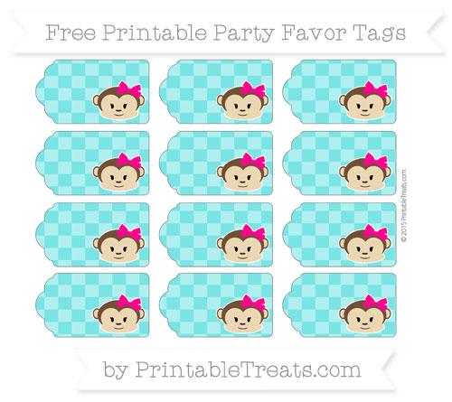 Free Robin Egg Blue Checker Pattern Girl Monkey Party Favor Tags