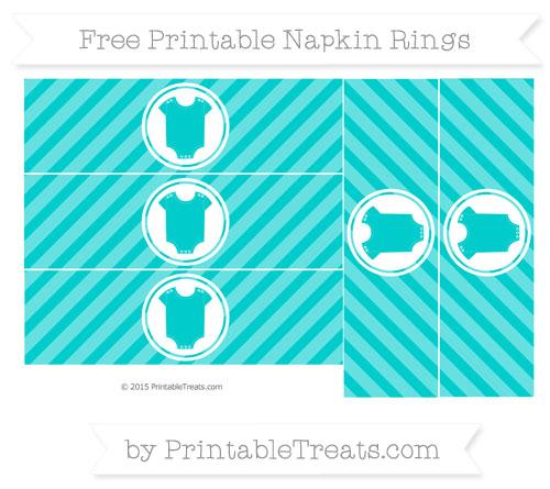 Free Robin Egg Blue Diagonal Striped Baby Onesie Napkin Rings
