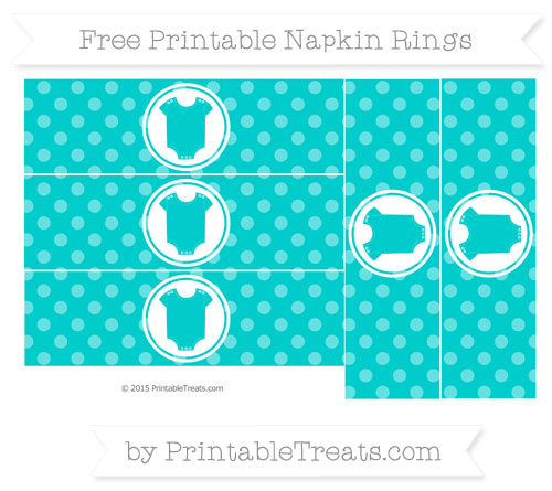 Free Robin Egg Blue Dotted Pattern Baby Onesie Napkin Rings