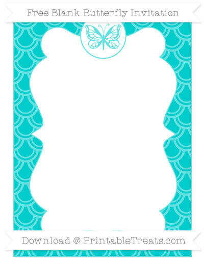 Free Robin Egg Blue Fish Scale Pattern Blank Butterfly Invitation