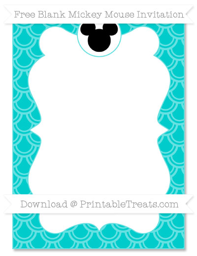 Free Robin Egg Blue Fish Scale Pattern Blank Mickey Mouse Invitation