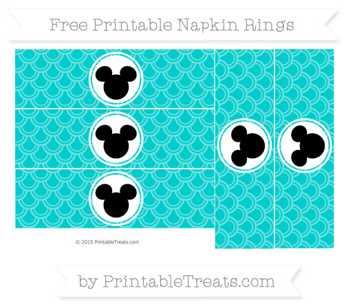 Free Robin Egg Blue Fish Scale Pattern Mickey Mouse Napkin Rings
