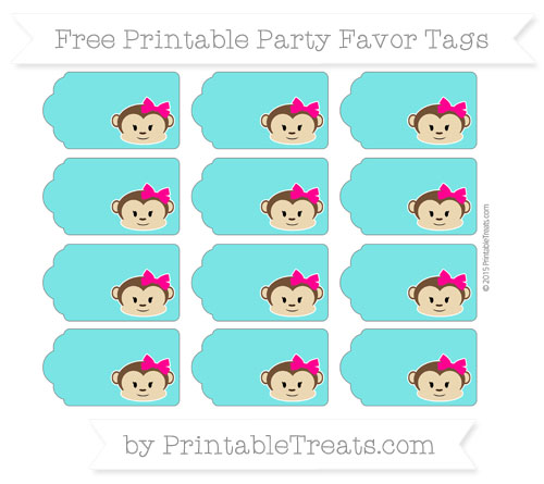 Free Robin Egg Blue Girl Monkey Party Favor Tags