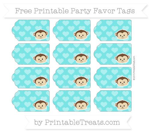 Free Robin Egg Blue Heart Pattern Boy Monkey Party Favor Tags