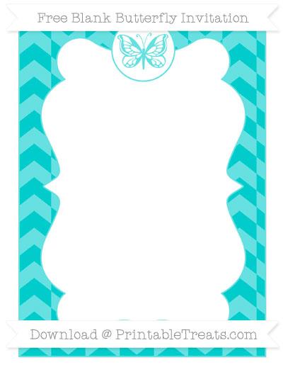 Free Robin Egg Blue Herringbone Pattern Blank Butterfly Invitation