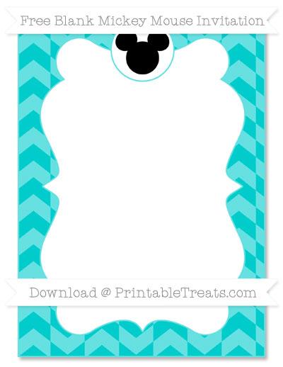 Free Robin Egg Blue Herringbone Pattern Blank Mickey Mouse Invitation
