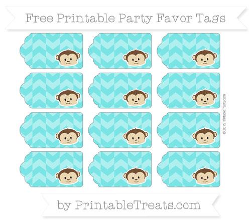 Free Robin Egg Blue Herringbone Pattern Boy Monkey Party Favor Tags