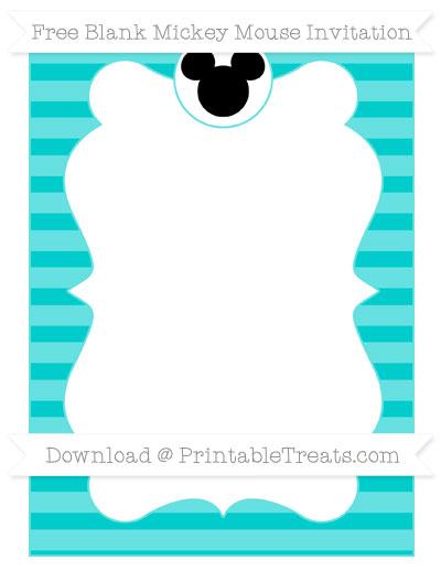 Free Robin Egg Blue Horizontal Striped Blank Mickey Mouse Invitation