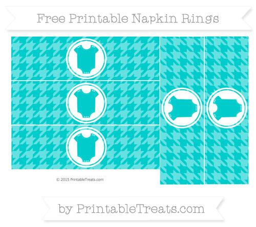 Free Robin Egg Blue Houndstooth Pattern Baby Onesie Napkin Rings