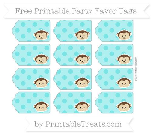 Free Robin Egg Blue Polka Dot Boy Monkey Party Favor Tags