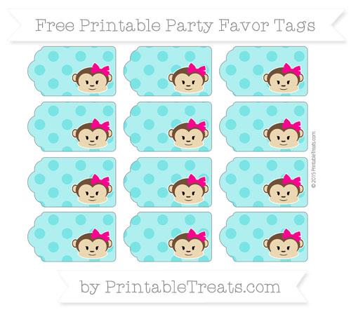 Free Robin Egg Blue Polka Dot Girl Monkey Party Favor Tags
