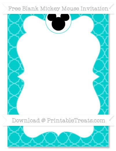Free Robin Egg Blue Quatrefoil Pattern Blank Mickey Mouse Invitation