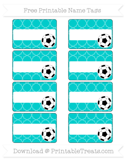 Free Robin Egg Blue Quatrefoil Pattern Soccer Name Tags
