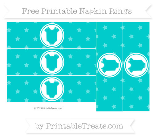 Free Robin Egg Blue Star Pattern Baby Onesie Napkin Rings