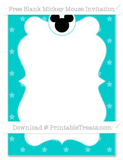 Free Robin Egg Blue Star Pattern Blank Mickey Mouse Invitation