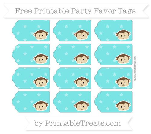 Free Robin Egg Blue Star Pattern Boy Monkey Party Favor Tags