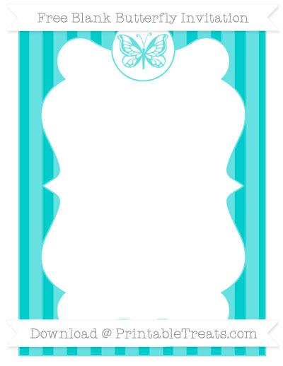 Free Robin Egg Blue Striped Blank Butterfly Invitation