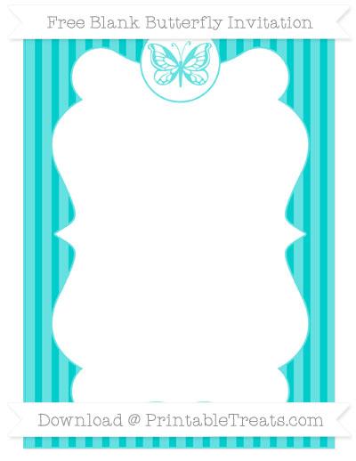 Free Robin Egg Blue Thin Striped Pattern Blank Butterfly Invitation