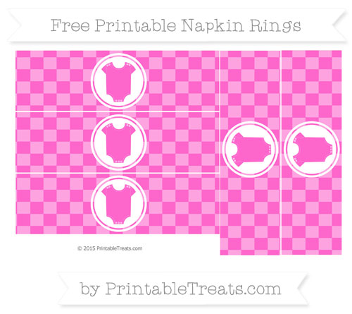 Free Rose Pink Checker Pattern Baby Onesie Napkin Rings