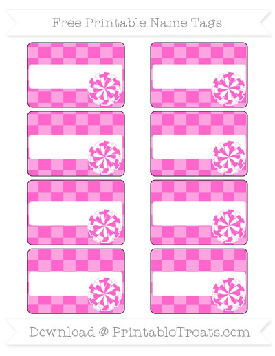 Free Rose Pink Checker Pattern Cheer Pom Pom Tags