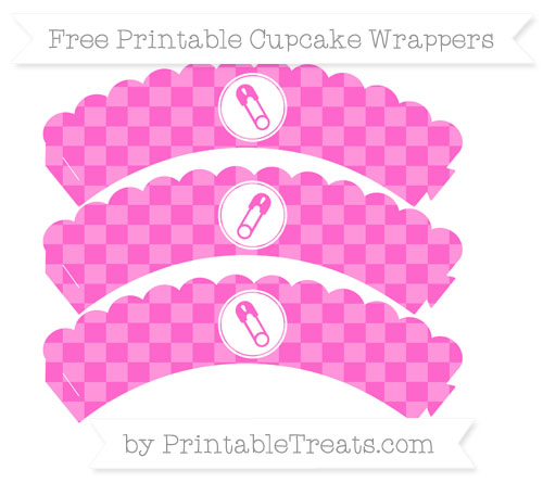Free Rose Pink Checker Pattern Diaper Pin Scalloped Cupcake Wrappers